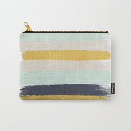 Abstract stripes hand painted brushstrokes mint grey and navy gender neutral color palette Carry-All Pouch