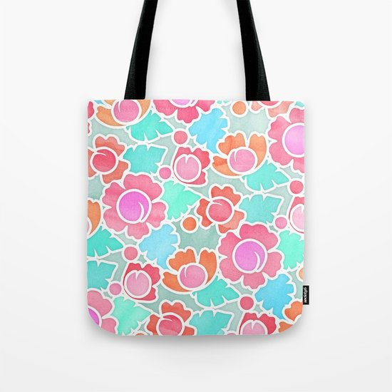 Pastel Tropical Floral Pattern Design with watercolor texture Tote Bag