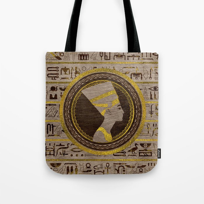 Pyrographed Golden Nefertiti On Wood Tote Bag By K9printart Society6