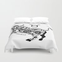taurus Duvet Covers featuring Taurus by Anna Shell