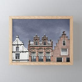 Old facades of canal houses in Alkmaar, The Netherlands Framed Mini Art Print