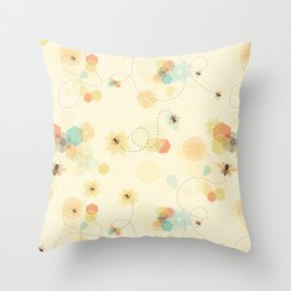 Busy bee textile pattern Throw Pillow
