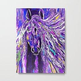 Horse Oil Painting Deep Purple Metal Print