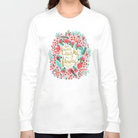 earth Long Sleeve T-shirts featuring The Earth Laughs in Flowers – Pink & Gold by Cat Coquillette