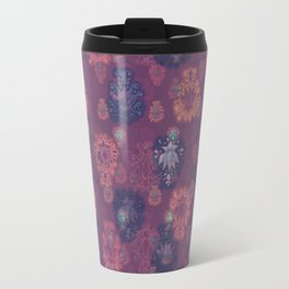Lotus flower - mulberry woodblock print style pattern Travel Mug
