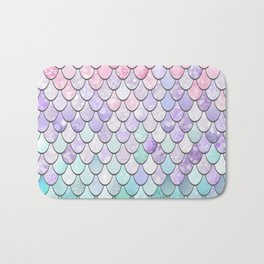 Mermaid Pastel Pink Purple Aqua Teal Bath Mat