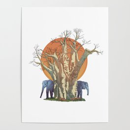 Elephants By Sunset Poster