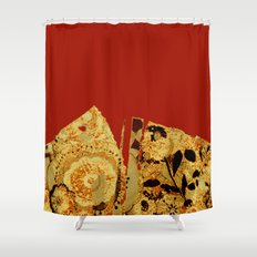 torn golden floral on red Shower Curtain