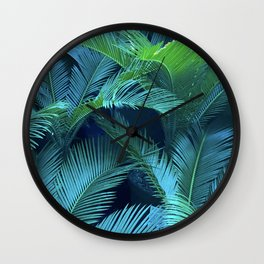 Blue Jeweled And Vibrant Green Palm Leaves Wall Clock
