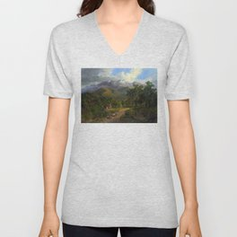 The Buffalo Ranges by Nicholas Chevalier (1864) Unisex V-Neck