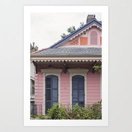 New Orleans Pink Creole Cottage Art Print