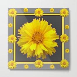 YELLOW & GREY  ART COREOPSIS FLOWERS Metal Print