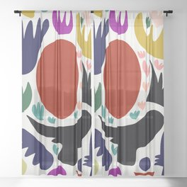 Birds in the sun minimal art abstract pattern decorative Sheer Curtain
