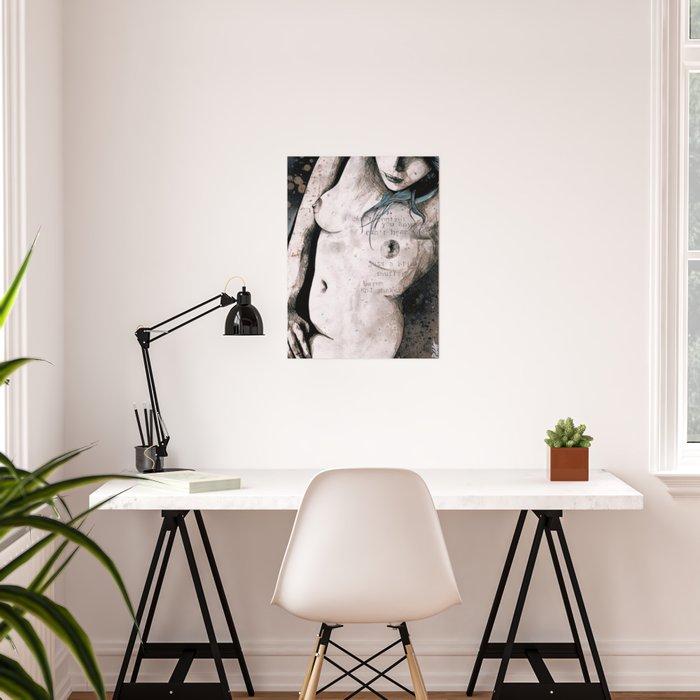 Rotten Apple: Turquoise (nude topless girl, erotic graffiti portrait) Poster