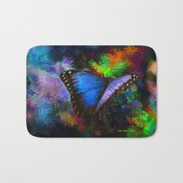 Blue Morpho Butterfly With Many Colors By Annie Zeno  Bath Mat