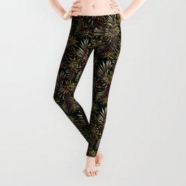 Aechmea Fasciata - Dark Green / Brown Leggings