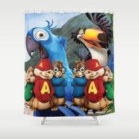 cartoon Shower Curtains featuring Chipmunk Cartoon by Maxvision