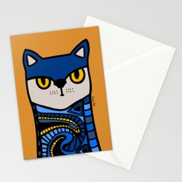 Nine Lives of a Cat in Orange Stationery Cards