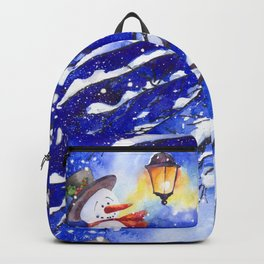 Watercolor snowman in Christmas winter night Backpack