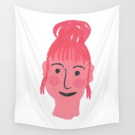 """""""Vicky"""" girl with bun and rosy cheeks Wall Tapestry"""
