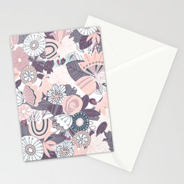 Whimsical Pastel Pink and Purple Floral Stationery Cards