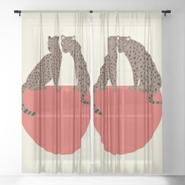 Leopards and shape Sheer Curtain