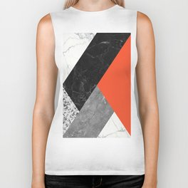 Black and White Marbles and Pantone Flame Color Biker Tank