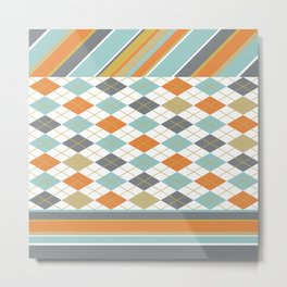 Retro 1980s Argyle and Stripes Geometric Metal Print