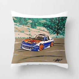blue nissan 240sx Throw Pillow