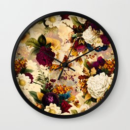 Vintage & Shabby Chic -  Nostalgic Winter Florals Pattern Wall Clock