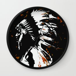 "Native American Indian ""Fearless in Flames"" Wall Clock"