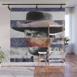 Van Gogh's Self Portrait & Clint Eastwood Wall Mural