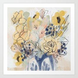 Golden Folk Florals in Vintage Blue Art Print