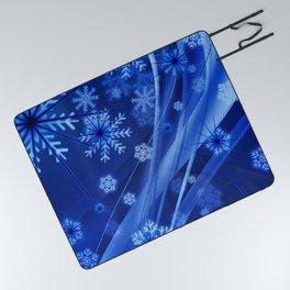 Blue Snowflakes Winter Picnic Blanket