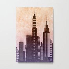 Modern American City Buildings And Skyscrapers At Sunset Metal Print