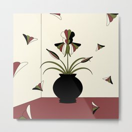Windswept Irises - Crimson Metal Print