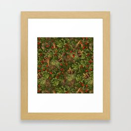 Traditional Holly Christmas Pattern Framed Art Print