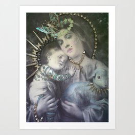 Religion. Mary & the Lamb of God Art Print