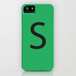 Letter S Initial Monogram - Black on Nephritis iPhone Case