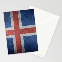 Vintage Grunge flag of Iceland Stationery Cards