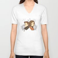 winchester V-neck T-shirts featuring Winchester Bros by PotatoCrisp