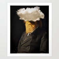 The inability of men with golden faces to be photographed without cloud. Art Print