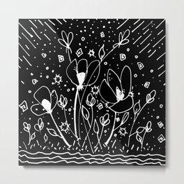 Scribble Doodle Flowers No.6B by Kathy Morton Stanion Metal Print