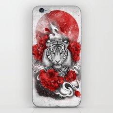 White tiger, red sun iPhone & iPod Skin
