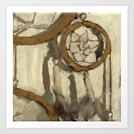 Still Life Impressionist Oil Painting of Native American Dreamcatcher in Brown, White and Grey Art Print