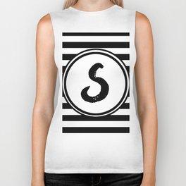 S Striped Monogram Letter Biker Tank