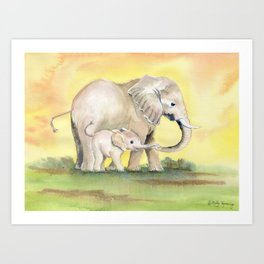 Colorful Mom and Baby Elephant 2 Art Print