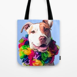 Dog in Flowers Tote Bag