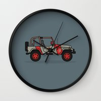 jurassic park Wall Clocks featuring Jurassic Park Jeep by Adam Tetzlaff