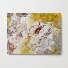 Brown, White and Yellow Abstract Art Metal Print